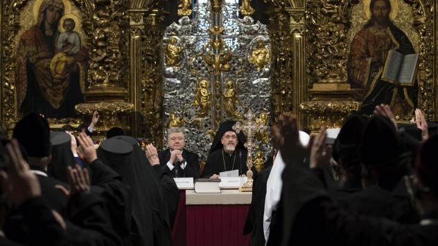 Ukrainian President Petro Poroshenko attends a synod of three Ukrainian Orthodox churches to elect leadership of a new unified church in the St. Sophia Cathedral in Kiev, Ukraine.