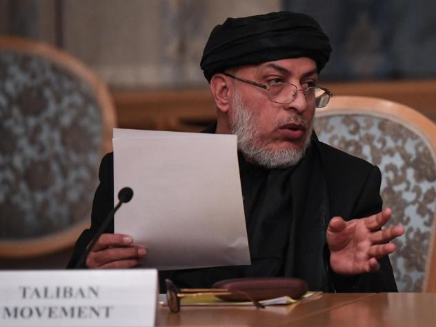 Sher Mohammad Abbas Stanakzai, a representative of the Taliban, attends international talks in Moscow last month. On Monday, the Islamist militant group announced that its representatives would be having conversations with the U.S. in the United Arab Emi