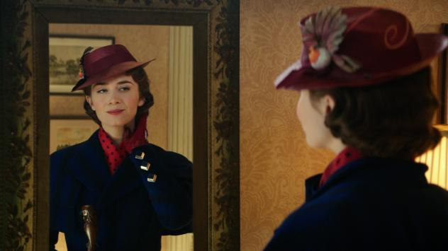 Mary Poppins (Emily Blunt) is back in service at the Banks' home in <em>Mary Poppins Returns,</em> a sequel to the 1964 classic.