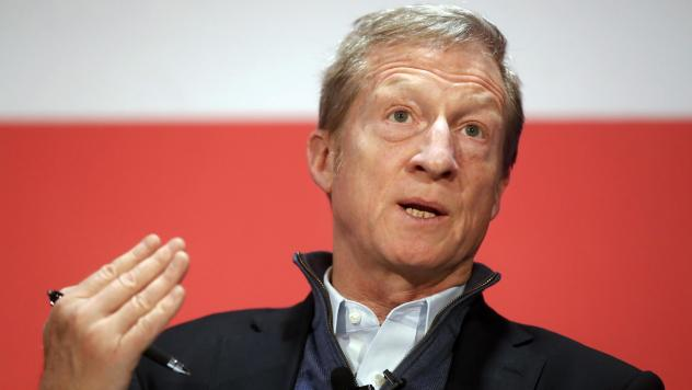 """Political activist Tom Steyer speaks during a """"Need to Impeach"""" town hall event in Cincinnati in March 2018."""