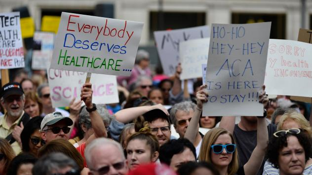 Philadelphia demonstrators protested earlier moves by Republicans to repeal the Affordable Care Act last February. If the ACA is indeed axed as unconstitutional, health policy analysts say, millions of people could lose health coverage, and many aspects