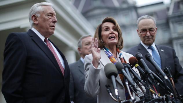 House Minority Whip Steny Hoyer (from left), Senate Minority Whip Richard Durbin, House Speaker-designate Nancy Pelosi and Senate Minority Leader Chuck Schumer talk to journalists following a meeting with President Trump at the White House on Wednesday.
