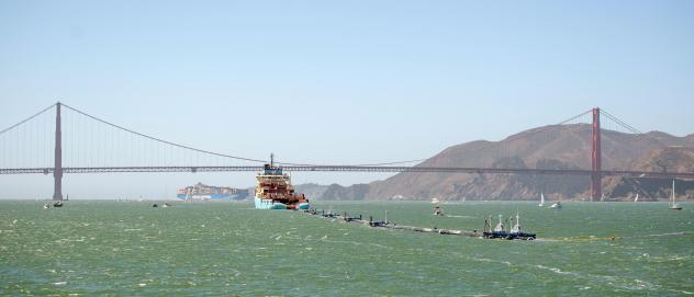 Ocean Cleanup's System 001 was towed out of the San Francisco Bay on Sept. 8, 2018.