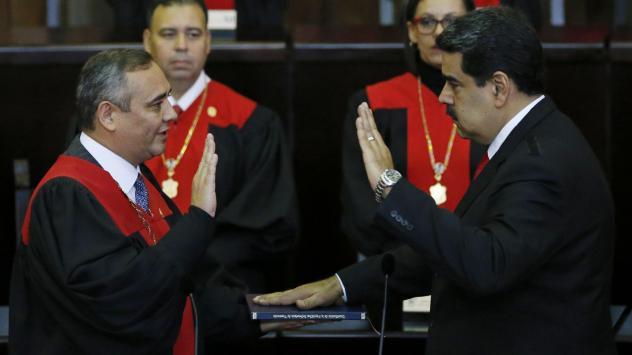 Venezuela's President Nicolas Maduro takes the oath of office in Caracas, Venezuela, on Thursday. Maduro starts his second term amid international denunciation of his victory and a devastating economic crisis.