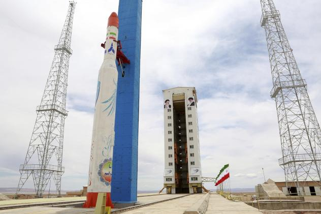 Iran's Simorgh rocket pictured before an attempted satellite launch in 2017. Experts say the rocket's second stage is too small to be used as a missile.
