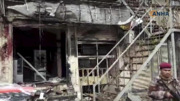 An explosion damaged a restaurant in Manbij, Syria, on Wednesday, as shown in a screen grab from the Kurdish Hawar News agency, or ANHA.