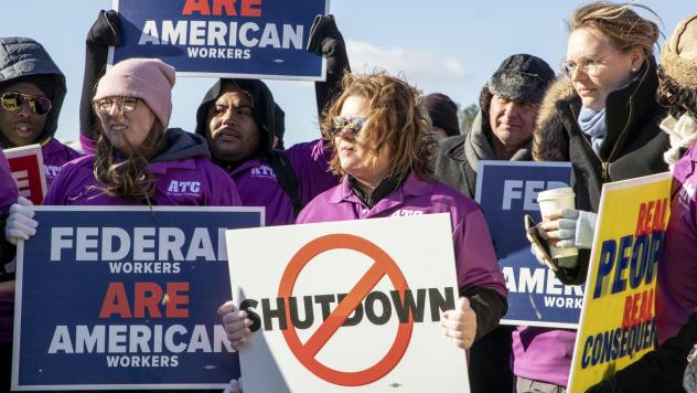 Demonstrators affiliated with the National Air Traffic Controllers Association protested the federal shutdown at a Capitol Hill rally earlier this month in Washington, D.C.