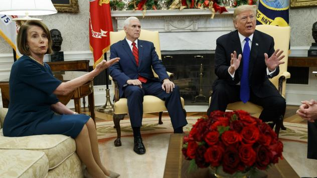 Vice President Mike Pence, looks on as now-House Speaker Nancy Pelosi, D-Calif., argues with President Trump during a meeting in the Oval Office last month.
