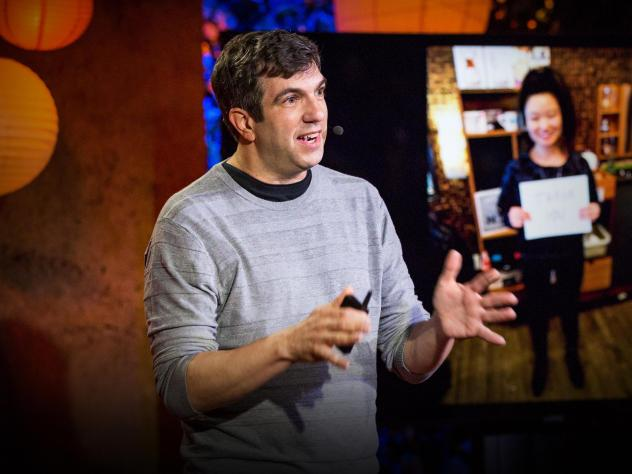 AJ Jacobs on the TED stage.