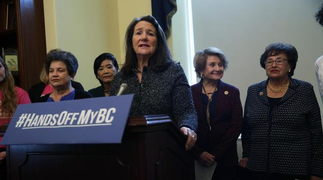At an October news conference, the Congressional Pro-Choice Caucus called on President Trump to reverse the administration's moves to limit women's access to birth control. Rep. Diana DeGette, D-Colo., spoke at the lectern during the event on Capitol Hil