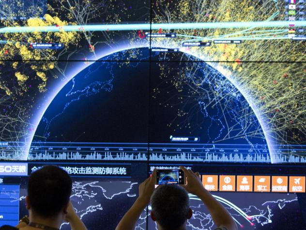 This is a visualization of global internet attacks, seen during the 4th China Internet Security Conference in Beijing. Microsoft's Bing search engine is no longer accessible in China, the company reports.