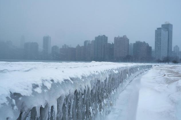 Icicles form on the walkway at North Avenue Beach of Lake Michigan in Chicago on Tuesday.