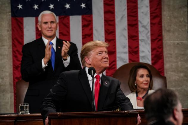 President Trump delivered his second State of the Union address Tuesday with House Speaker Nancy Pelosi, D-Calif., and Vice President Pence behind him.