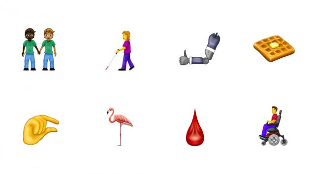 A selection of the new emoji released by The Unicode Consortium for 2019. Apple proposed more emoji to better represent individuals with disabilities, which includes individuals with wheelchairs, canes, hearings aids and prosthetic limbs. Another highlig