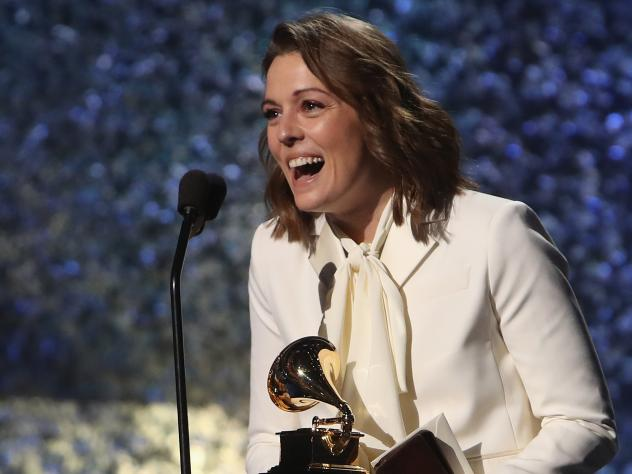 Brandi Carlile accepts the Grammy award for Best American Roots Performance, one of the 75 awards handed out at the Grammy's Premiere Ceremony prior to the prime time telecast.