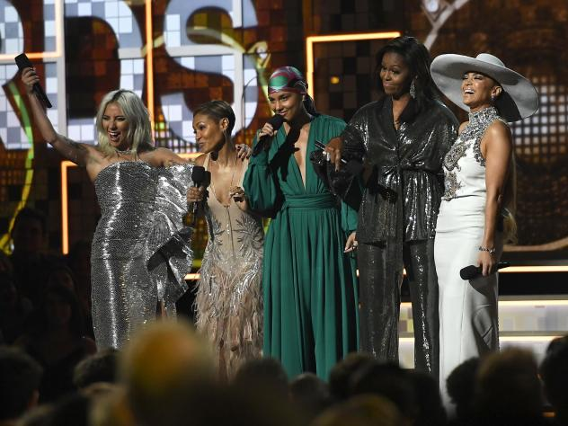 In a pointed moment, host Alicia Keys (center) opened the 61st Grammy Awards by bringing out Lady Gaga (left), Jada Pinkett Smith (second from left), Michelle Obama (second from right) and Jennifer Lopez (right) to speak about women and music.