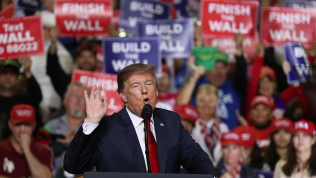 President Trump speaks during a rally Monday in El Paso, Texas, where he was greeted by a counter-rally led by Democrat Beto O'Rourke, who has criticized the president on immigration.