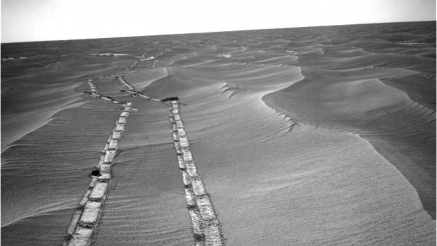 NASA's Opportunity rover used its navigation camera to capture this northward view of tracks in May 2010 during its long trek to Mars' Endeavour crater.