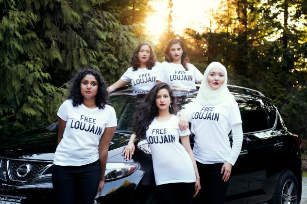 Friends of Loujain al-Hathloul made a photo to parody a <em>Vogue </em>Arabia cover image showing a Saudi princess in a red convertible. Pictured here (left to right) are Ayendri Ishani Ridell, Urooba Jamal, Narissa Diwan, Atiya Jaffar and Rauza Khan. Ha
