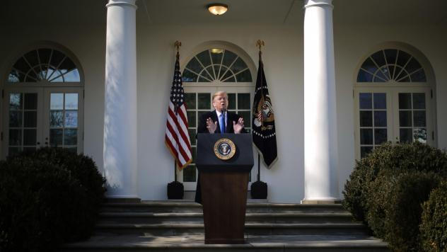President Trump announces his emergency declaration during a Rose Garden event at the White House on Friday.