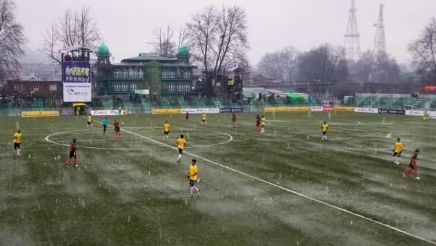 Snowflakes began accumulating on the turf by halftime during a Feb. 6 game at Real Kashmir's home stadium in Srinagar. The coach of the visiting team said later that some members of his team, from southern India, had never seen snow.