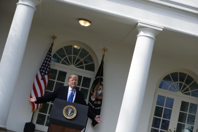 President Trump speaks Friday in the Rose Garden at the White House, where he declared a national emergency. A new NPR/PBS NewsHour/Marist poll finds most Americans don't think there is an emergency.