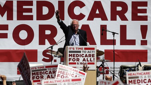 Sen. Bernie Sanders, I-Vt., promotes his Medicare-for-all proposal at the 2017 Convention of the California Nurses Association/National Nurses Organizing Committee in San Francisco, Calif., an issue that is dominating the early debate in the 2020 preside