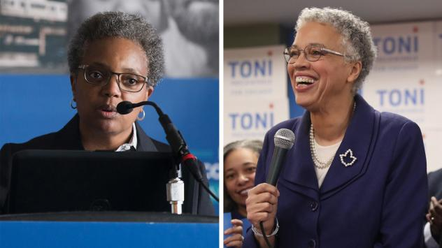 Lori Lightfoot (left), who earned 17.5 percent with 90,000 votes, and Toni Preckwinkle, at 16 percent with 82,000 votes, will go head-to-head in a runoff election April 2.