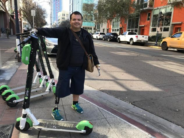 Alex Montoya, who was born missing his right leg and both arms, is a plaintiff in a federal disability rights lawsuit targeting San Diego and scooter companies Lime, Bird and Razor.