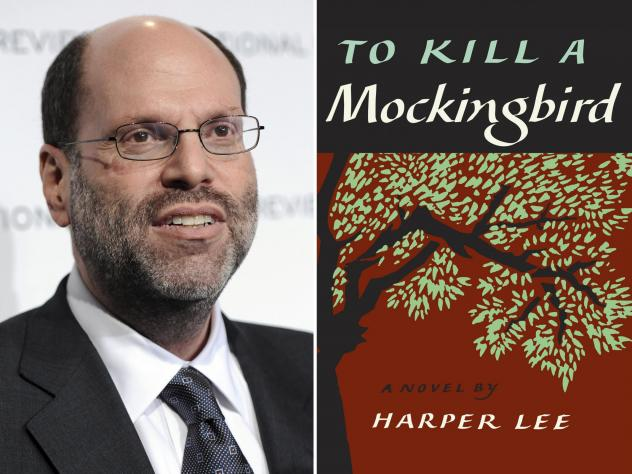 """This combination photo shows Hollywood and Broadway producer Scott Rudin and the cover of Harper Lee's """"To Kill a Mockingbird."""""""