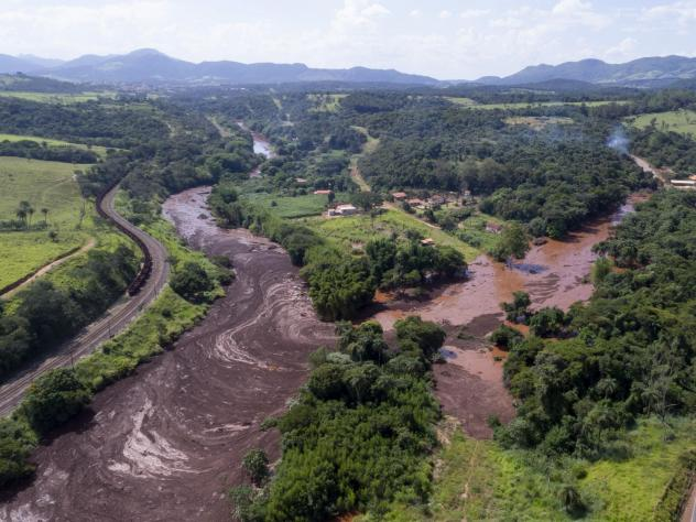 An aerial view shows flooding triggered by a dam collapse near Brumadinho, Brazil, in January. Brazil has opened a corruption probe into the disaster.