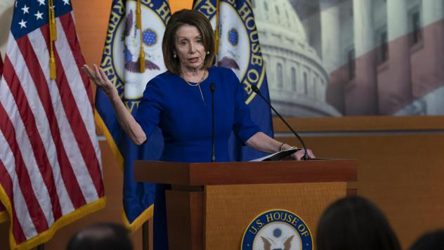 House Speaker Nancy Pelosi meets with reporters for her weekly news conference at the Capitol on Thursday.