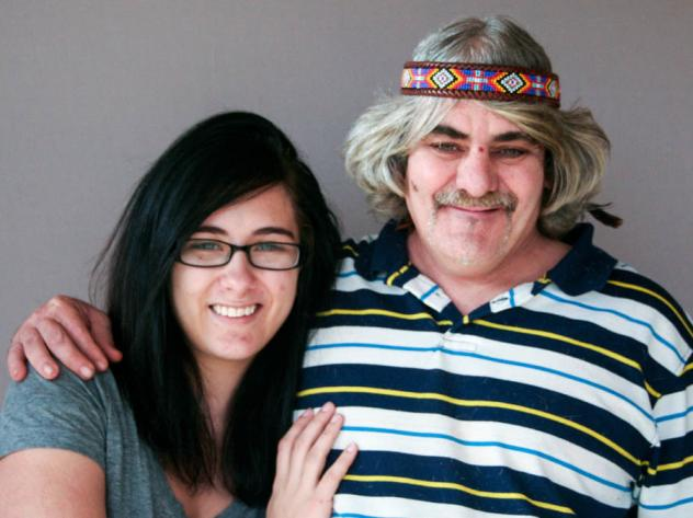 Shotzy Harrison in 2013 with her father, James Flavy Coy Brown, at StoryCorps in Winston-Salem, N.C. Not long after, Brown, then 49, left his daughter's home and she hasn't seen him since.