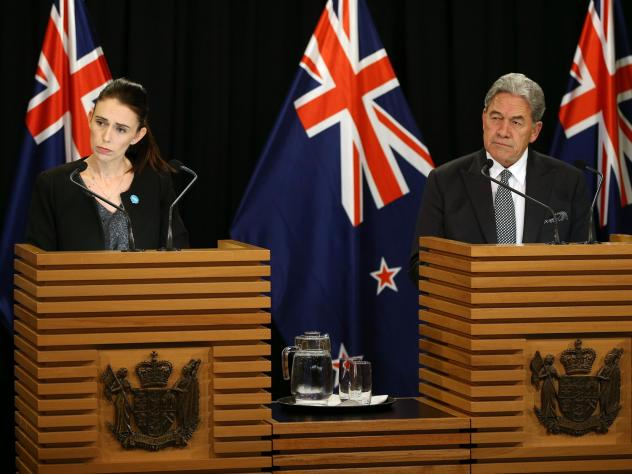 Prime Minister Jacinda Ardern and Deputy Prime Minister Winston Peters speak to media during a press conference at Parliament on Monday.