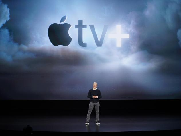 Apple CEO Tim Cook announces Apple TV+, a new video-streaming service, on Monday in Cupertino, Calif.