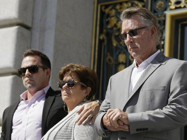 Brad Steinle, Liz Sullivan and Jim Steinle, the brother, mother and father of Kate Steinle appearing at a 2015 news conference on the steps of City Hall in San Francisco.