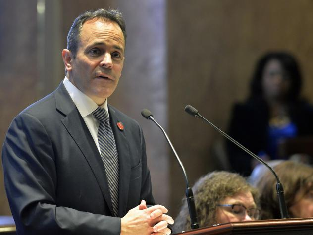 Kentucky Gov. Matt Bevin, a Republican, speaks to state legislators in 2018. Bevin, who is running for re-election this fall, asked the federal government to impose work requirements on many people who receive Medicaid. Bevin's predecessor, a Democrat, d