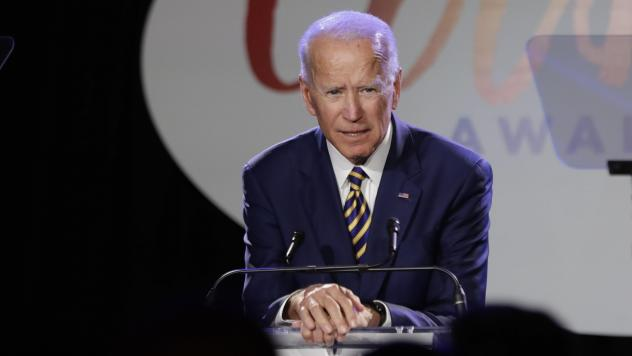 """Former Vice President Joe Biden speaks at the Biden Courage Awards, an event related to combating campus sexual assault, on Tuesday. Activist and former candidate Lucy Flores says Biden touched her in 2014, in an encounter that """"wasn't violent or sexual,"""