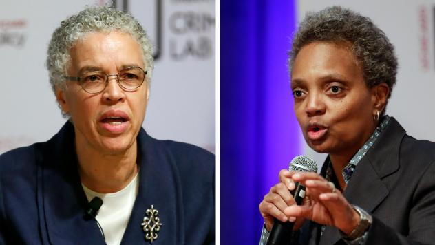 Chicago mayoral candidates Toni Preckwinkle (left) and Lori Lightfoot speak during a March 13 forum on crime and violence.