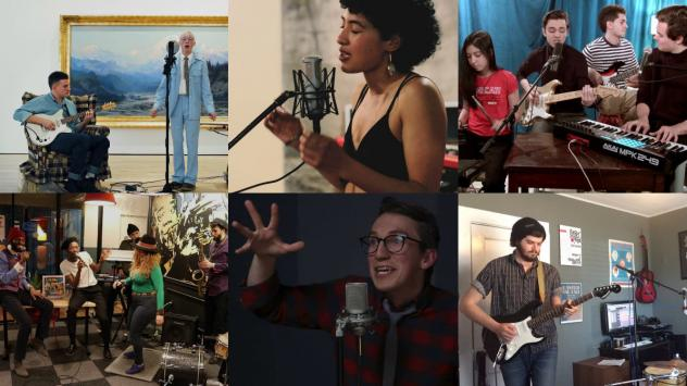 The Tiny Desk Contest entries we loved this week (clockwise from top left: Quinn Christopherson; STRQ x Camilla; Danny and Alex; Ravary; Zac McMillan; Mwenso & The Shakes)