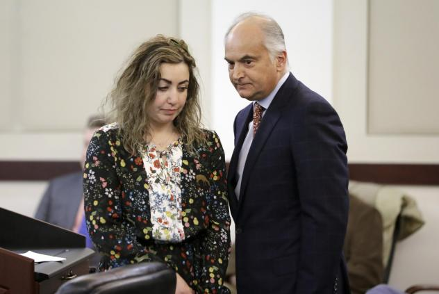 RaDonda Vaught appears at a court hearing with her attorney, Peter Strianse, in February. Vaught, a former nurse at Vanderbilt University Medical Center, was charged with reckless homicide after a medication error killed a patient.