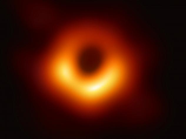 "The first-ever image of a black hole was released Wednesday by a consortium of researchers, showing the ""black hole at the center of galaxy M87, outlined by emission from hot gas swirling around it under the influence of strong gravity near its event hor"