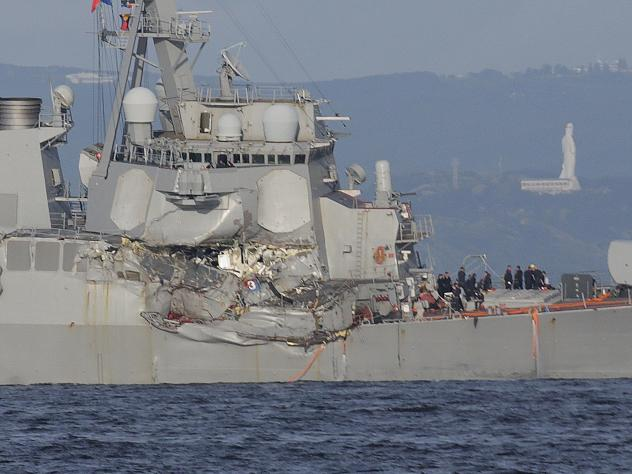 The USS Fitzgerald collided with a Philippine-flagged container ship off the coast of Japan on June 17, 2017. The $1.8 billion destroyer, manned by a 300-member crew, had been steaming on a secret mission to the South China Sea when it was struck by a ca
