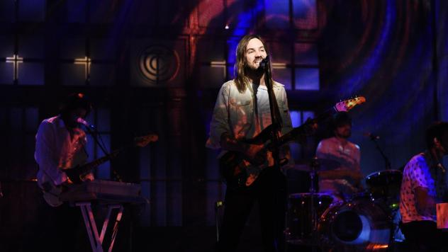 Musical guest Tame Impala performs Patience on Saturday Night Live on March 30, 2019.