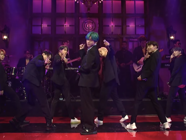 BTS performing live on <em>SNL.</em>