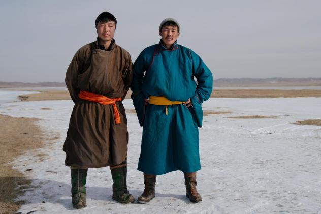 Ice shooting players Ser-od Dechingalav, 30 (right), and Enkhbaatar Batdelger, 30, won the partner contest.