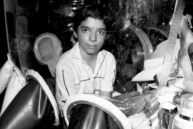 David Vetter, pictured in September 1982 inside part of the bubble environment that was his protective home until he died in 1984. Today most kids born with severe combined immunodeficiency are successfully treated with bone marrow transplants, but resea