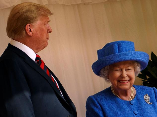 President Trump has accepted an invitation for a state visit from Britain's Queen Elizabeth II, setting up a trip in early June. The two are seen here during Trump's visit to the U.K. last June.