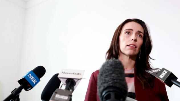New Zealand Prime Minister Jacinda Ardern speaks to reporters at a news conference on Wednesday. She announced New Zealand and France will lead a global effort to end the use of social media as a tool to promote terrorism.