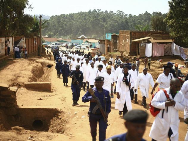 Health workers marched in Butembo on Wednesday to protest the violence they're facing. The demonstration comes in the wake of an attack last Friday in which an epidemiologist from Cameroon was shot and killed.